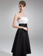 A-Line/Princess Sweetheart Tea-Length Satin Bridesmaid Dress With Ruffle (007004048)