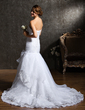 Trumpet/Mermaid Strapless Chapel Train Satin Organza Wedding Dress With Ruffle Beading Bow(s) (002011553)
