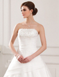 Ball-Gown Strapless Chapel Train Organza Wedding Dress With Lace Beading (002011611)