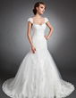 Trumpet/Mermaid Sweetheart Chapel Train Tulle Wedding Dress With Ruffle Lace Beading (002015150)