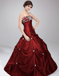Ball-Gown Strapless Floor-Length Taffeta Quinceanera Dress With Beading Appliques Lace Sequins (021020630)