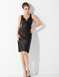 Sheath/Column V-neck Knee-Length Charmeuse Cocktail Dress With Ruffle (016021056)
