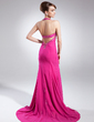 Trumpet/Mermaid Halter Court Train Chiffon Mother of the Bride Dress With Beading Sequins Cascading Ruffles (008015832)