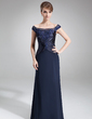 Sheath/Column Off-the-Shoulder Sweep Train Chiffon Charmeuse Mother of the Bride Dress With Ruffle Lace Beading Sequins (008005963)