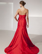 Trumpet/Mermaid Scalloped Neck Court Train Taffeta Prom Dress With Ruffle Beading Bow(s) Split Front (018014416)