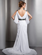 A-Line/Princess V-neck Chapel Train Chiffon Wedding Dress With Ruffle Beading (002012610)