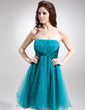 Empire Strapless Knee-Length Tulle Homecoming Dress With Ruffle Beading Sequins (022016312)
