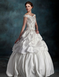 Ball-Gown Off-the-Shoulder Floor-Length Taffeta Wedding Dress With Beading Flower(s) (002012128)