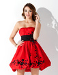 Empire Strapless Short/Mini Taffeta Homecoming Dress With Ruffle Sash Beading Appliques Lace (022004641)