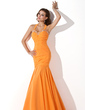 Trumpet/Mermaid Halter Floor-Length Chiffon Evening Dress With Ruffle Beading Sequins (017005814)
