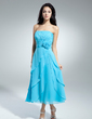 A-Line/Princess Strapless Tea-Length Chiffon Homecoming Dress With Flower(s) Cascading Ruffles (022014972)