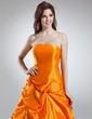 A-Line/Princess Strapless Floor-Length Taffeta Quinceanera Dress With Ruffle (021016035)