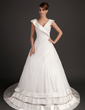 Ball-Gown V-neck Chapel Train Satin Organza Wedding Dress With Ruffle (002015526)