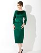 Kılıf Yuvarlak Yaka Uzun Etekli Satin Gelin Annesi Elbisesi (008006024)