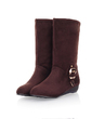 Suede Flat Heel Flats Mid-Calf Boots With Buckle shoes (088033432)