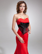 Trumpet/Mermaid Sweetheart Sweep Train Satin Evening Dress With Sash Bow(s) (017016729)