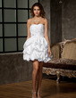 A-Line/Princess Sweetheart Short/Mini Taffeta Wedding Dress With Ruffle Beading Flower(s) (002011550)