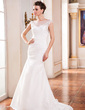 Trumpet/Mermaid Scoop Neck Sweep Train Taffeta Wedding Dress With Ruffle Beading Appliques Lace Sequins (002042293)
