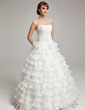 Ball-Gown Sweetheart Floor-Length Organza Wedding Dress With Beading Cascading Ruffles (002017564)