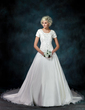 Ball-Gown Square Neckline Cathedral Train Satin Organza Wedding Dress With Embroidered Beading Sequins (002000540)