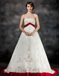 Ball-Gown Strapless Court Train Satin Wedding Dress With Sash Beading Appliques Lace (002017432)