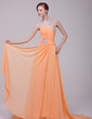 A-Line/Princess One-Shoulder Court Train Chiffon Prom Dress With Ruffle Beading (018016215)