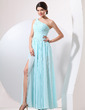 A-Line/Princess One-Shoulder Floor-Length Chiffon Evening Dress With Ruffle Split Front (017014054)