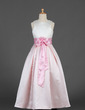 A-Line/Princess Floor-length Flower Girl Dress - Satin Sleeveless Scoop Neck With Sash/Flower(s)/Bow(s) (010016191)