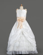 A-Line/Princess Floor-length Flower Girl Dress - Taffeta/Organza Sleeveless Scoop Neck With Sash/Flower(s)/Bow(s)/Pick Up Skirt (010014607)