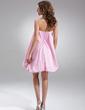A-Line/Princess Strapless Short/Mini Taffeta Bridesmaid Dress (022020774)