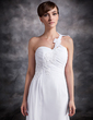 A-Line/Princess One-Shoulder Chapel Train Chiffon Wedding Dress With Ruffle Appliques Lace (002016920)