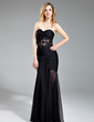 Trumpet/Mermaid Sweetheart Floor-Length Chiffon Evening Dress With Ruffle Beading Appliques Lace (017019395)