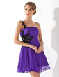 A-Line/Princess One-Shoulder Short/Mini Chiffon Homecoming Dress With Ruffle Beading Appliques Lace Sequins (022008949)