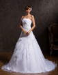 Ball-Gown Strapless Chapel Train Organza Wedding Dress With Ruffle Appliques Lace Sequins (002015164)