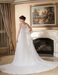 A-Line/Princess Scoop Neck Watteau Train Chiffon Wedding Dress With Ruffle Beading (002012135)