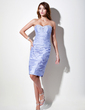 Sheath/Column Sweetheart Knee-Length Taffeta Cocktail Dress With Ruffle Beading (016016049)