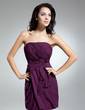 Sheath/Column Strapless Short/Mini Chiffon Homecoming Dress With Ruffle (022014956)