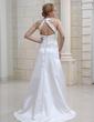 Vestido tubo Escote en V Barrer/Cepillo tren Satén Vestido de novia con Volantes Bordado Lentejuelas (002012845)