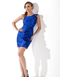 Sheath/Column One-Shoulder Short/Mini Charmeuse Cocktail Dress With Ruffle (016020967)
