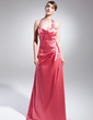 A-Line/Princess Halter Floor-Length Charmeuse Evening Dress With Ruffle Beading Sequins Split Front (017014975)