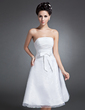 A-Line/Princess Strapless Knee-Length Organza Homecoming Dress With Ruffle Bow(s) (022015089)