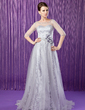 A-Line/Princess Scoop Neck Sweep Train Tulle Lace Mother of the Bride Dress With Beading Flower(s) Sequins (008018962)