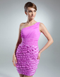 Sheath/Column One-Shoulder Short/Mini Chiffon Cocktail Dress With Cascading Ruffles (016015499)