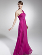 A-Line/Princess One-Shoulder Floor-Length Chiffon Holiday Dress With Ruffle Beading (020039559)