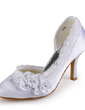 Women's Satin Stiletto Heel Closed Toe Pumps With Rhinestone Satin Flower Stitching Lace (047005347)