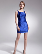Sheath/Column Square Neckline Short/Mini Charmeuse Cocktail Dress With Ruffle Beading (016014490)
