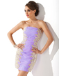 Sheath/Column Strapless Short/Mini Organza Homecoming Dress With Ruffle Appliques Lace (022009628)