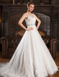 Ball-Gown Scoop Neck Court Train Tulle Wedding Dress With Lace Beading Sequins (002054363)
