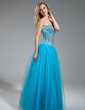 A-Line/Princess Sweetheart Floor-Length Tulle Prom Dress With Beading (018018883)