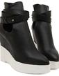 Suni deri Dolgu Topuk Platform Takozlar Bot Ayak bileği Boots ayakkabı (088057556)